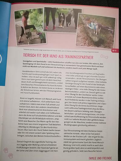 Tierisch fit: Der Hund als Trainingspartner. Interview in der ...herzlich!-Ausgabe 01/2018